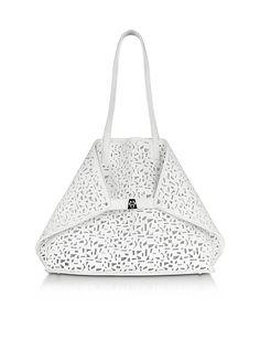 Akris+Ai+Medium+White+Laser+Cut+Leather+Tote+Bag+w/Inner+Canvas+Tote
