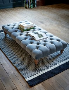 Grey Velvet Ottoman - a timeless piece to add additional seating/surface area to our homes