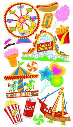 Theme Park Scrapbook Page Ideas | EK Success - Sticko Classic 58 Stickers - Amusement Park