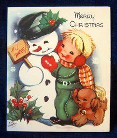 Snowman Boy Cocker Spaniel Puppy Dog by Eva Harta Vintage 50s Christmas Card | eBay