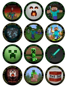 MINECRAFT Printable Birthday Party Cupcake Toppers Favor Tags (GC-0025). $7.50, via Etsy.