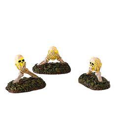 This Halloween Village Boneyard Do No Evil LED Décor Set is perfect! #zulilyfinds