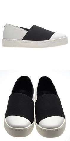 cool slip-on sneakers in real white leather and black rubber band | great…