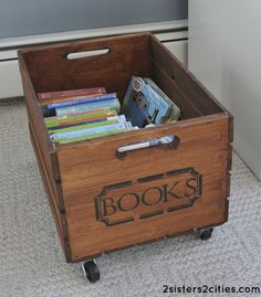 """Make your own """"vintage"""" Rolling Storage Crate- a fraction of the price compared to what some retailers charge"""