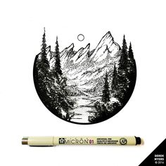 daily drawings by derek myers Mountain Drawing, Mountain Tattoo, Wilderness Tattoo, Black Pen Drawing, Forest Tattoos, Ink Pen Drawings, Aesthetic Drawing, Daily Drawing, Pen Art