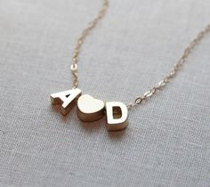 Tiny Gold Initial Necklace - Two Initials with Heart - Personalized Jewelry