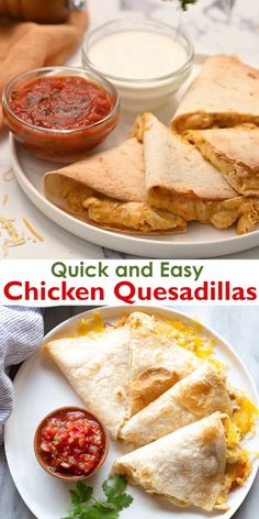 We love everything about these quick and easy Chicken Quesadillas that are baked in the oven and ready in minutes. This recipe makes the best quesadillas, hands down! # Food and Drink dinner videos Chicken Quesadilla Easy Chicken Recipes, Easy Dinner Recipes, Easy To Cook Recipes, Summer Recipes, Chicken Quesadillas, Chicken Tacos, Easy Chicken Quesadilla Recipe, Easy Casserole Recipes, Pancake