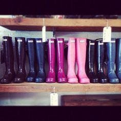 a glorious gradient of hunter boots. Still need to get myself a pair of red ones!