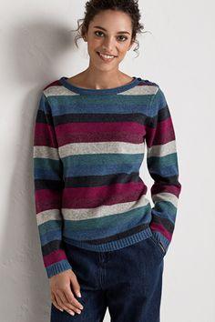 A long-sleeved, boat neck women's jumper with button detailing on the shoulder. In Seasalt stripes, inspired by the colours of the Cornish landscape. Clothes For Sale, Clothes For Women, Comfort And Joy, All Sale, Sea Salt, 50th, Jumper, Raincoat, Pullover