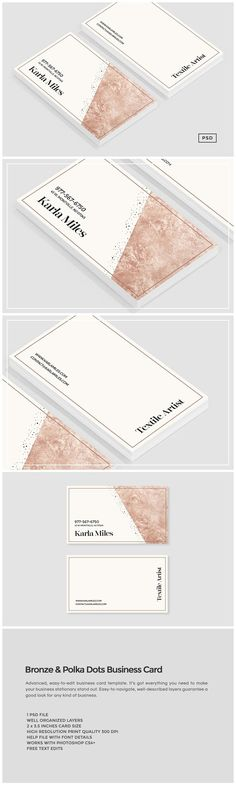 Bronze & Polka Dots Business Card by The Design Label on @creativemarket