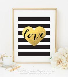 LOVE HEART Faux Gold Foil Art Print - Black & White Stripe - Home Office Decor - Imitation Gold Leaf - Gold Love Heart - Anniversary Gift