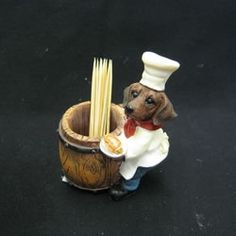 Collectible Holiday Dachshund Toothpickholder Kitchen Accessories