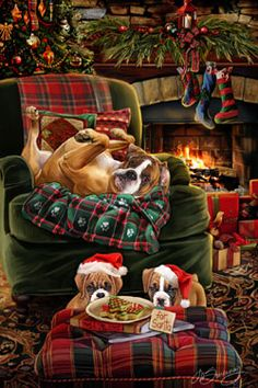 New for Boxer Christmas Holiday Cards are 8 x 5 and come in packages of 12 cards. One design per package. All designs include envelopes, your personal message, and choice of greeting. Select the inside greeting of your choice from the menu Boxer And Baby, Boxer Love, Beautiful Dogs, Animals Beautiful, Cute Animals, Beautiful Pictures, Christmas Animals, Christmas Dog, Vintage Christmas