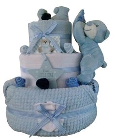**Save £5** Boys nappy cake with Plush Teddy Bear in Blue - 12 newborn items in Baby, Maternity/ Pregnancy, Baby Showers | eBay
