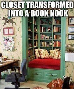 If I end up having to use a bedroom to transform into my library, I hope the closet is big enough to do this. I think it would be a really interesting feature. Though minus the seating, probably.