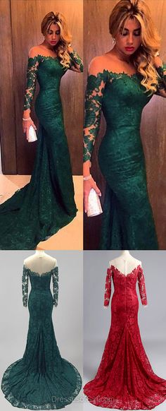 Mermaid Prom Dress, Court Train Prom Dresses, Green Evening Gowns, Lace Party Dresses, Long Sleeve Formal Dresses