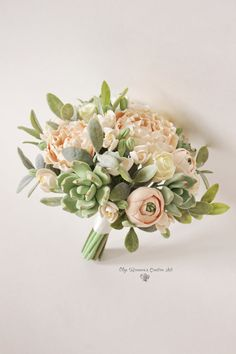 Alternative wedding bouquet Keepsake Wedding bouquet Peach Blush peonies Green Succulents Bridal bouquet Clay flowers weddingl bouquet