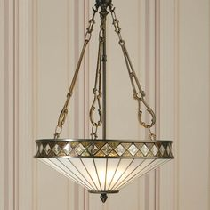 Art Deco Style hanging light suspend on 3 chains.
