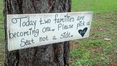 Pick a Seat Not a Side  Sign for Wedding by ThePeculiarPelican, $14.00