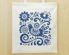 Tote Bag Mexican Bird Blue Screen Print Flowers Folk Art Day of the Dead Frida Kahlo Fran Wood Design