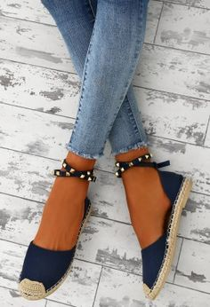 Summer Jam Navy Studded Denim Espadrilles