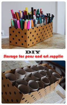 A creative way to store utensils such as paint brushes , pencils and other small objects.