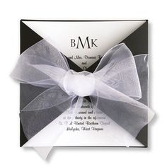 Tied With Love Wedding Invitations - A heavyweight Black wrap envelopes a White square card personalized with your initials and words of invitation. It all ties together with a wide sheer ribbon.
