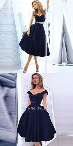Vintage Style A-line Two-piece Black Homecoming Dresses Gorgeous Off-the-shoulde… Vintage-Stil A-Linie zweiteilige schwarze Homecoming Kleider Wunderschöne Off-the-Schulter-A-Linie Dark Navy Homecoming / Abendkleid Hoco Dresses, Trendy Dresses, Homecoming Dresses, Cute Dresses, Party Dresses, Beautiful Dresses, Evening Dresses, Fashion Dresses, Formal Dresses
