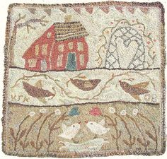 Hooked Rug ... House ... Birds