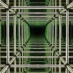 """Art installation called Numen Light membrane creates and infinite reflection of a light grid using """"spy glass"""", by Numen Infinity Room, Infinity Lights, Infinite Mirror, Les Gobelins, Mirror Illusion, Light Grid, Mirror Room, Mirror Inspiration, Light Installation"""