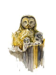 Owl family  watercolor art print by MundoMeo on Etsy, $14.90