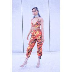 Orange Nikki Camo Pants ($200) ❤ liked on Polyvore featuring pants, camoflauge pants, camouflage pants, cargo pants, camoflage pants and camouflage trousers
