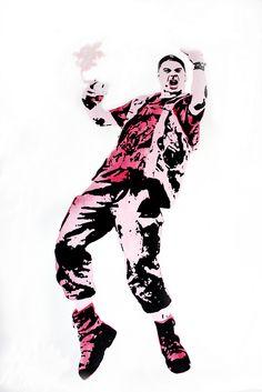 Artista: Benedict Caesar, Rocker Presenting His Pinkie (Rockero presentando su rosadito), Acuarela y Stencil sobre  papel acuarela de tinta, hecho en máquina de papel de criba redonda (Hahnemühle), 50 x 65 cm, edición 5/10, 2014, + PA   Artist: Benedict Caesar, Rocker Presenting His Pinkie Stencil Watercolor and ink on watercolor paper, made in paper machine round sieve (Hahnemühle), 50 x 65 cm, edition 5/10, 2014, + PA