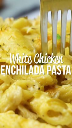 White Chicken Enchilada Pasta -my favorite enchilada recipe with pasta instead of tortillas - much easier! chicken, pasta, green chiles, cheese, tossed in a homemade sour cream sauce. I wanted to lick my plate! Chicken Enchilada Pasta, White Chicken Enchiladas, Mexican Chicken Pasta Recipe, Recipes Using Cooked Chicken, Cream Cheese Enchiladas, Cheesy Chicken Pasta, Cheesy Chicken Casserole, Chicken Spaghetti Recipes, Cheap Chicken Recipes