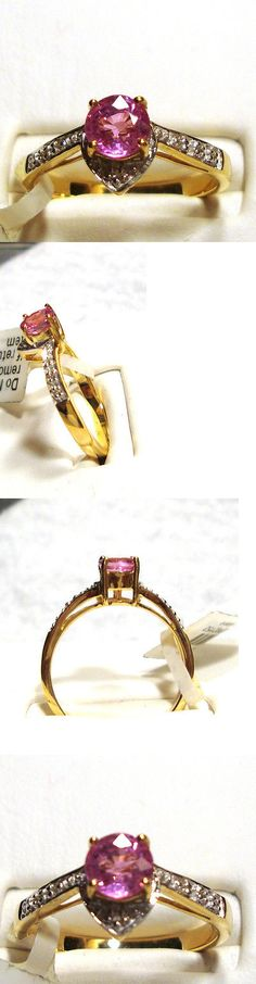 Other Engagement Rings 164308: New .57Ct Hot Pink Sapphire Ring W Diamonds 18K Yg Size 7 -> BUY IT NOW ONLY: $699 on eBay!