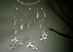 Wedding Mobile Nursery Decor Idea Fairy Mobile White Butterfly Swarovski Crystal Suncatcher Hanging Mobile Baby Girl Mobile Crystal Garland