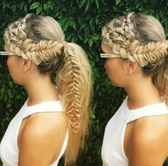 4 Inspirational Braided Hairstyles - #fourstrand crown braid into a side braided ponytail