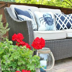 Create a beautiful and inviting outdoor space this summer with inspiration from this Red, White, and Blue Coastal Patio.