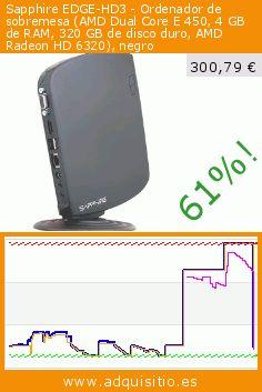 Sapphire EDGE-HD3 - Ordenador de sobremesa (AMD Dual Core E 450, 4 GB de RAM, 320 GB de disco duro, AMD Radeon HD 6320), negro (Ordenadores personales). Baja 61%! Precio actual 300,79 €, el precio anterior fue de 778,39 €. https://www.adquisitio.es/sapphire/edge-hd3-mini-pc