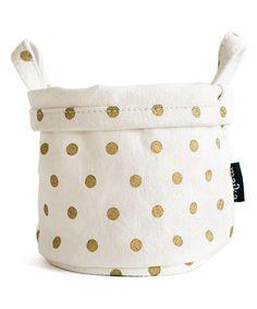 This Gold Polka Dot Canvas Storage Bucket is perfect! #zulilyfinds