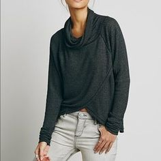 Free People Tops - Free People • Luxe Cowl Neck Tulip Thermal Gray