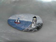 Estate-Handpainted-Seascape-Sailing-Boat-Lighthouse-Nautical-Scene-Oval-Rock-Pin