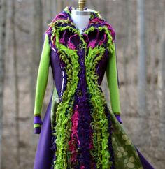 one-of-a-kind 582,=Patchwork boho long Sweater COAT, fantasy wearable art clothing, up cycled one of a kind Eco-Couture. Size S/M. Ready to ship