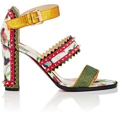 Christian Louboutin Women's Montezumina Triple-Strap Sandals (€1.190) ❤ liked on Polyvore featuring shoes, sandals, heels, christian louboutin, sapato, no color, high heel shoes, wide heel sandals, thick heel sandals and strappy heeled sandals