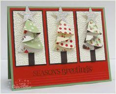 Folded half circle Christmas tree card