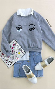 Grey Ribbed Trim Eyes Embroidered Sweatshirt