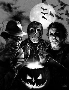 """killedtheinnocentpeople: """" Horror Icons Halloween by StandingonClouds """""""