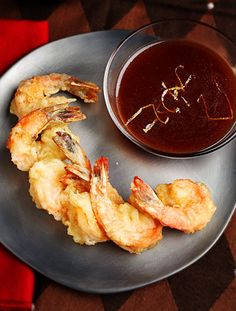 Tempura shrimp w/ pomegranate wasabi sauce: looks easy enough to follow, and the sauce sounds scrumptious.