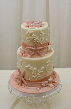 Beach and Sea Shell  Wedding Cake