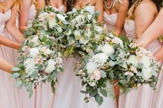 Blush Ivory and Green Wedding Bouquets | Eucalyptus Bridal Bouquet | Rustic Wedding Bouquet | Garden Wedding Bouquet | Asgari Photography | Swans Trail Farm Wedding Snohomish